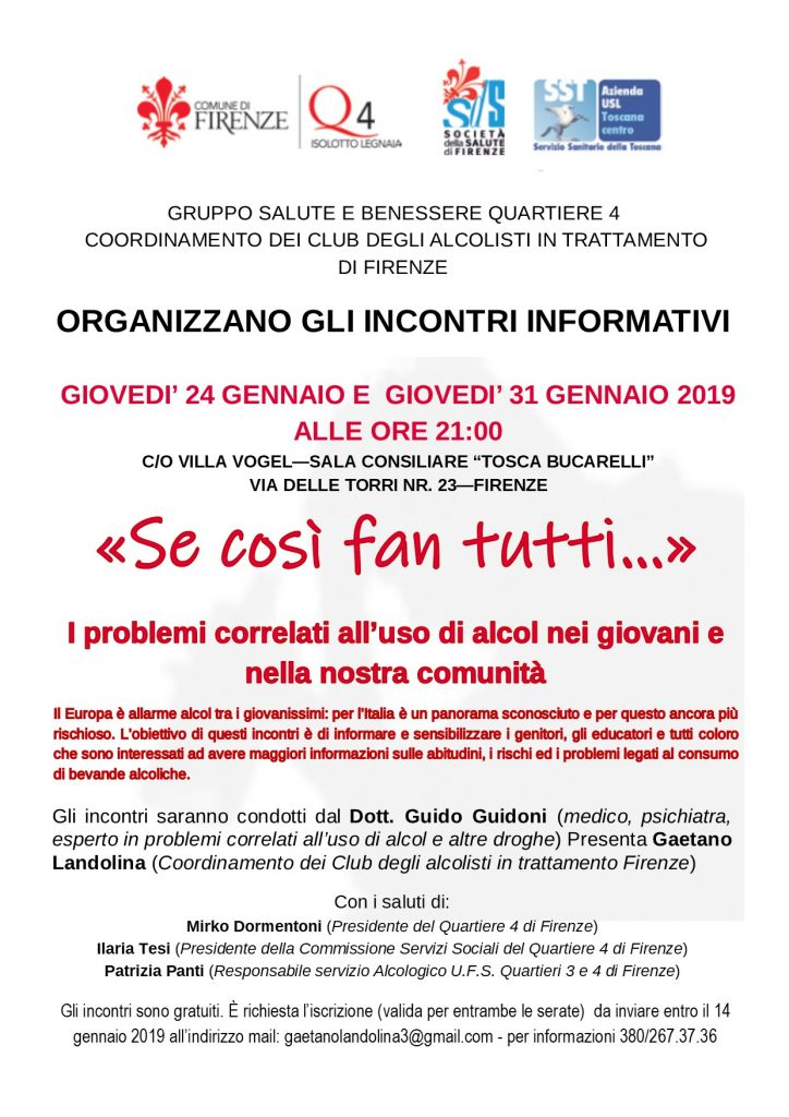 incontri di formazione sui problemi dovuti all'uso di alcol nei giovani Firenze 24 e 31 gennaio ore 21